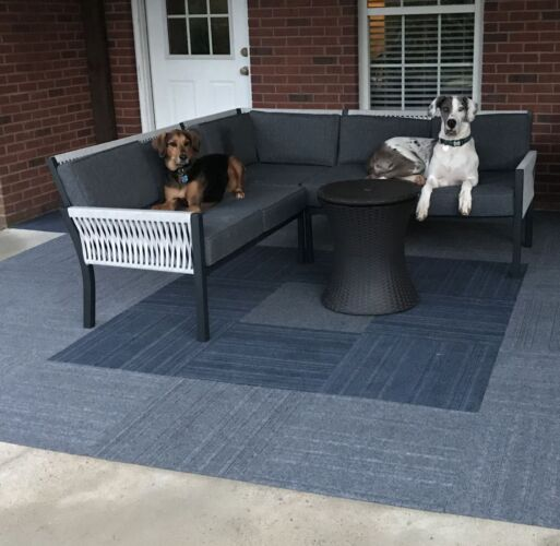 Outdoor sitting area with 2 dogs and Foss Floors carpet tiles.