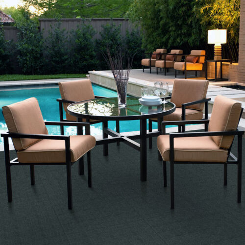 Poolside seating with Foss Floors carpet tiles.